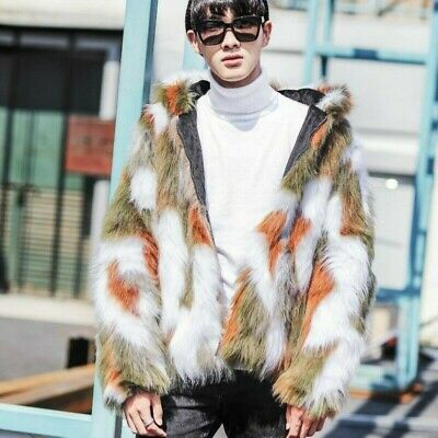 £42.91 • Buy Luxury Mens Faux Fur Hooded Coat Jacket Fluffy Thick Parka Outerwear Winter Tops