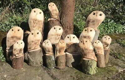 £8.49 • Buy S Carved Wooden Owl Decoration Garden Statue Chainsaw Carving Natural Wood Xmas