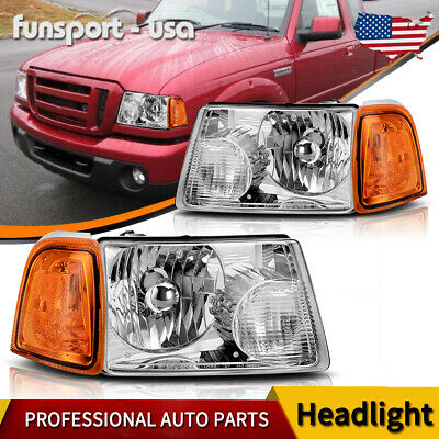 $69.99 • Buy For 2001-2011 Ford Ranger Chrome Headlights + Amber Corner Turn Signal Lights