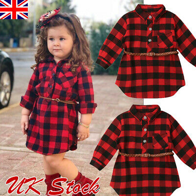 UK Spring Plaid Toddler Kids Baby Girl Outfit Clothes T Shirt Top Dress+Belt • 6.99£