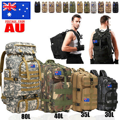 AU36.99 • Buy 30L/35L/40L/80L Military Tactical Backpack Rucksack Bag Camping Outdoor Hiking