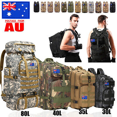 AU37.99 • Buy 30L/40L/80L Outdoor Military Rucksack Tactical Backpack Camo Hiking Camping Bag