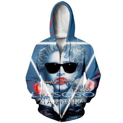 $ CDN21.45 • Buy Sexy Singer Madonna 3D Print Zipper Hoodies Sweatshirt Jacket Mens Sports Coat