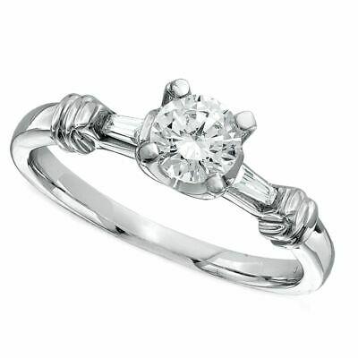 $ CDN2414.57 • Buy 1/2 Carat Diamond Three Stone Engagement Ring In 14K Solid White Gold