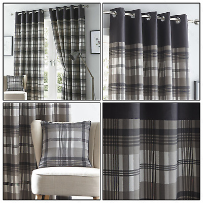 Grey Eyelet Curtains Tartan Check Plaid Modern Ready Made Lined Ring Top Pairs • 23.99£
