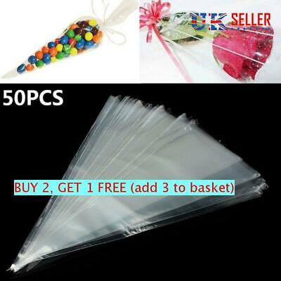 Clear Cellophane Wrapping Bags Plastic Seal Cone Candy Popcorn Snack Pocket UK • 3.34£
