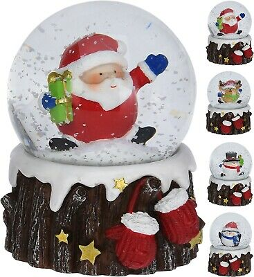 Christmas Snow Globe Xmas Decoration Santa Snowman Reindeer On Tree Trunk Gift  • 5.99£