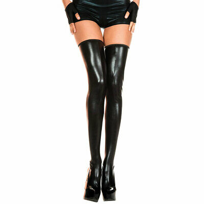 £14.95 • Buy Leather Look Stockings Sexy Hold Ups Music Legs - Black