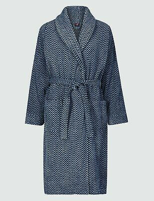 Ex M&S Collection Men's Luxury Pure Velour Cotton Printed Dressing Gown RRP £59 • 24.99£