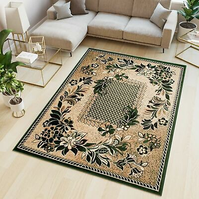 Small Medium Extra Large Green Rug Traditional Floral Pattern Short Pile Carpet • 26.90£