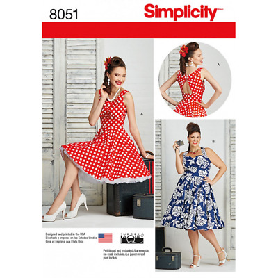 Simplicity Misses Plus Size Rockabilly 50s Style Dresses Sewing Pattern 8051 • 13£