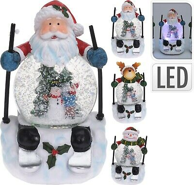 Lovely Large Musical Christmas Snow Globe Skiing Santa Coloured LED Snowstorm  • 19.49£