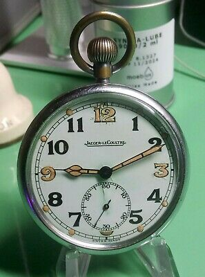WW2 BRITISH Military Jeager-LeCoultre Pocket Watch Circa 1940 FULLY Serviced Vgc • 280£