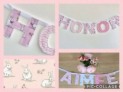£2.20 • Buy Personalised Girls Fabric Bunting Name Baby Pink Rabbit Nursery £2.20PER LETTER