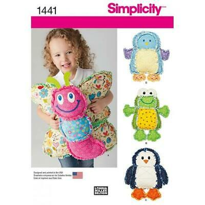 Simplicity Rag Quilted Animal Pillows Craft Sewing Patterns 1441 • 9.60£