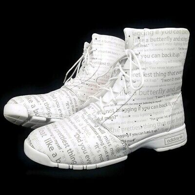 $129 • Buy Adidas Muhammad Ali All Over Script Boots White Mens SZ 12