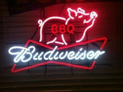 $ CDN150.28 • Buy Budweiser BowTie Pig BBQ Grill Neon Sign Beer Bar Night Pub Light Home Decor