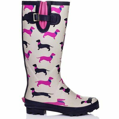 New Womens Knee High Flat Festival Wellies Pattern Wellington Rain Boots • 26£