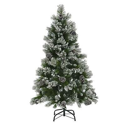 5/6/7ft Christmas Tree Artificial Snow Flocked Green Pine Branches Frosted Cones • 149£
