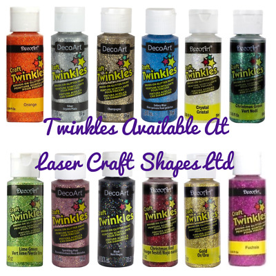 DecoArt Craft Twinkles Glitter Acrylic Craft Paint 2oz. 12 Colours Same Day Dis • 5.99£