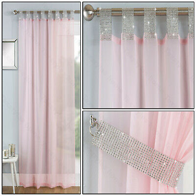 Blush Pink Tab Top Panel Diamante Sparkle Voile Net Curtain Tab Top Single Panel • 10.99£