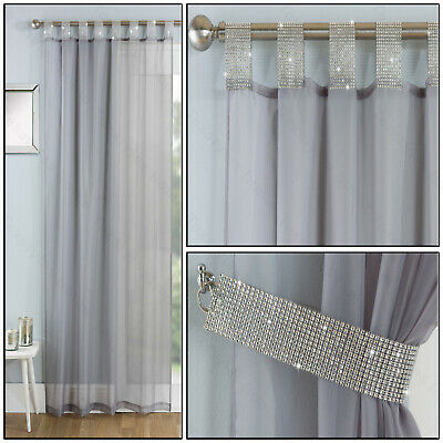 Grey Silver Tab Panel Diamante Sparkle Voile Net Curtain Tab Top Single Panel • 11.99£