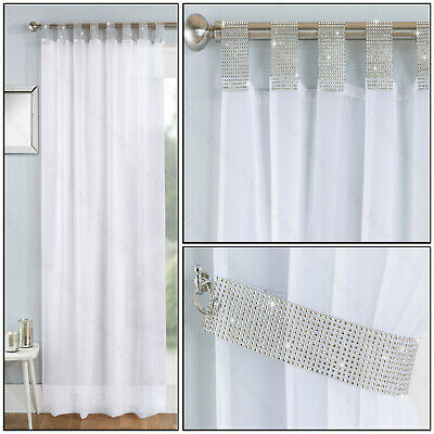 White Tab Top Panel Diamante Sparkle Tab Voile Net Curtain Tab Top Single Panel • 10.99£