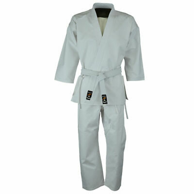 Playwell Beginners White Karate Students Uniform Adults Suits Cotton Gi Outfit • 16.99£
