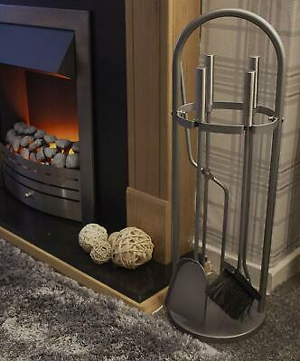 £16.99 • Buy 5pc Silver Arched Fireside Tool Set Coal Fire Wood Burner Accessories Poker