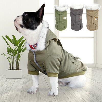 £7.99 • Buy Small Dog Coats For Winter Chihuahua Clothes Fur Collar Fleece Pet Jacket Hoodie