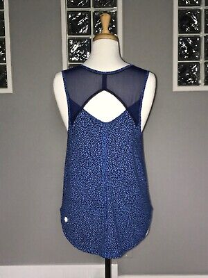 $ CDN55.25 • Buy LULULEMON SCULPT TANK 6 MISS MOSAIC LAKESIDE BLUE Keyhole Open Back UPF MESH