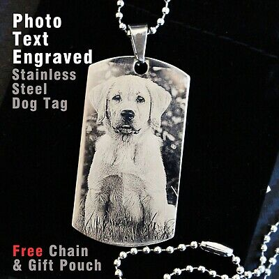 Personalised Dog Pet Memorial Keepsakes Gift Photo Text Engraved Pendent Dogtag  • 13.99£