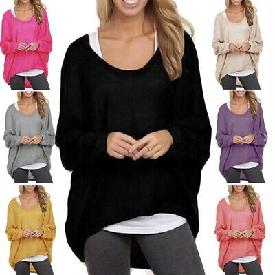 Women Loose Solid Irregular Long Sleeve Baggy Jumper Casual Tops Blouse T-Shirt • 3.97£