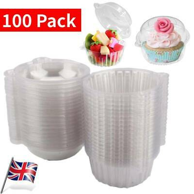 £9.98 • Buy 100Pcs Individual Plastic Clear Single Cup Cake Muffin Case Pods Domes Boxes