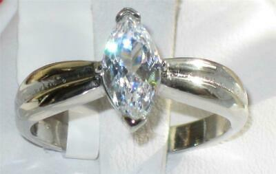 Marquise 1ct Ring Solitaire Ladies Stainless Steel Engagement Silver New 103  • 14.99£