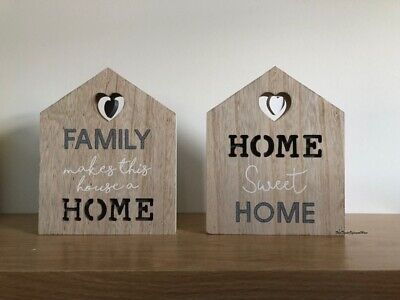 Wooden Sentiment Plaque Sign Free Standing Home Family Heart Detail Ornament • 10.99£