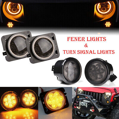 $ CDN41.84 • Buy For Jeep Wrangler JK LED Turn Signal+ Side Marker Fender Lights Smoked Lens