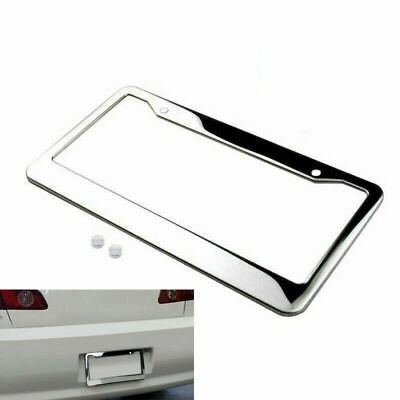 $3.99 • Buy 1X Chrome Stainless Steel Metal License Plate Frame Tag Cover W/Screw Cap Silver