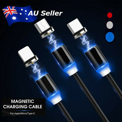 AU9.12 • Buy AU 360° Charging Magnetic USB C IOS Micro Cable For IPhone XR XS Android Charger