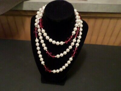 JOAN RIVERS 14K GOLD EP HAND KNOTTED 10mm PEARL & RED BEAD 50  NECKLACE NOS • 21$