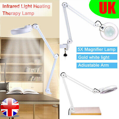 £27.58 • Buy Swing Arm Table  5X Magnifying Glass Beauty Nail Salon Magnifier Lamp Light