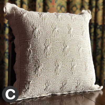 Luxury 100% Cotton TWO PACK Irish Aran Lace Cushion Cover Ivory Knitted Crochet • 14.95£