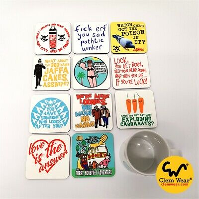 Bottom COASTERS Rik Mayall T-shirt Inspired Funny Young Ones Comedy UK Retro Fun • 3.50£