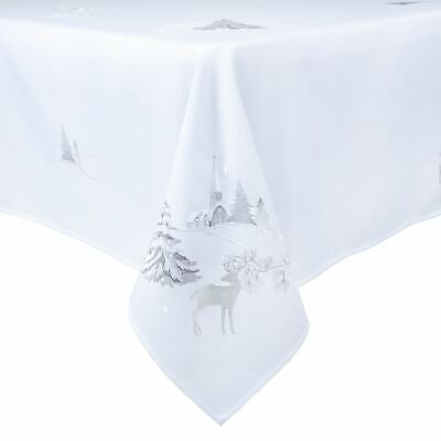 New White With Silver Reindeer / Trees Christmas Xmas Fabric Festive Tablecloth • 25£