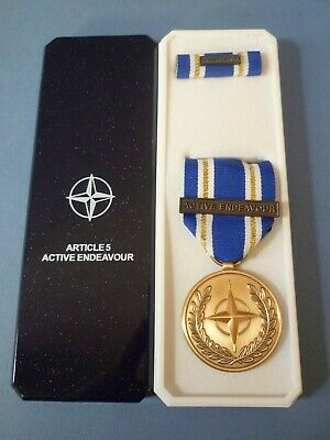 Genuine Nato Medal For Active Endeavour In Named Box Of Issue - Excellent  • 14.95£