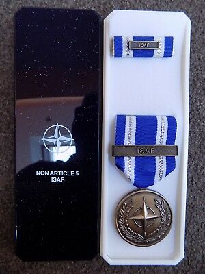Genuine Nato Medal For Isaf Afghanistan In Named Box Of Issue Post Jan 2011 • 14.95£