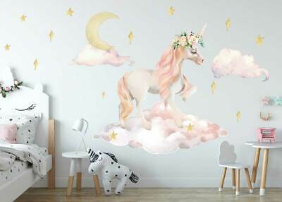 Princess Unicorn Wall Stickers Floral Nursery Decal Baby Cot Decor Kid Art Mural • 15.67£
