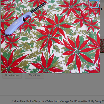 $ CDN51.43 • Buy Indian Head Mills Christmas Tablecloth Vintage Red Poinsettia Holly Berry Cotton