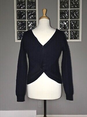 $ CDN48 • Buy Angel Of The North Gabriele Twist Back Sweater Xs Navy Cropped Anthropologie