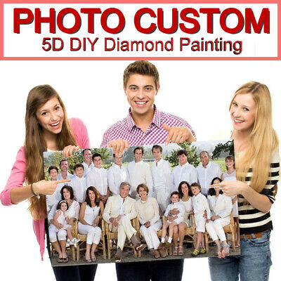 AU8.99 • Buy Photo Diamond Painting 5D Full DIY Drill Custom Embroidery Cross Stitch Family